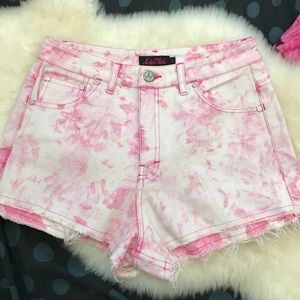 Pink Tie dye stretch high waisted shorts